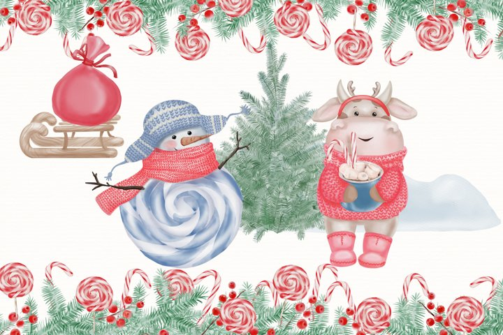 Watercolor Christmas Clipart. Christmas Bull. Snowman. PNG example 5