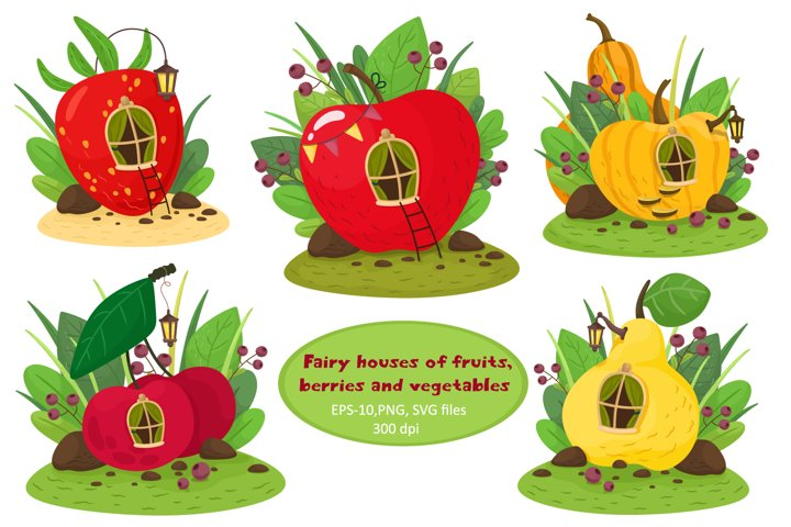 Cute fairy houses of pumpkins, cherries, strawberries, apple