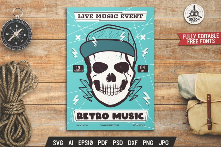 Rock Music SVG Flyer Skull Card Template - DXF PNG Brochure