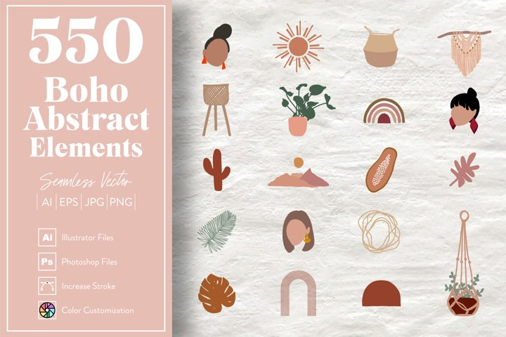 550 Boho Abstract Elements