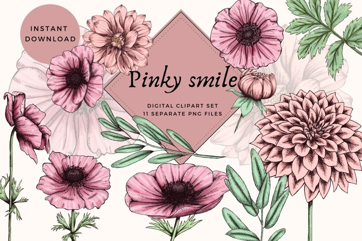 flowers clipart,pink clipart, floral clipart, wedding decor
