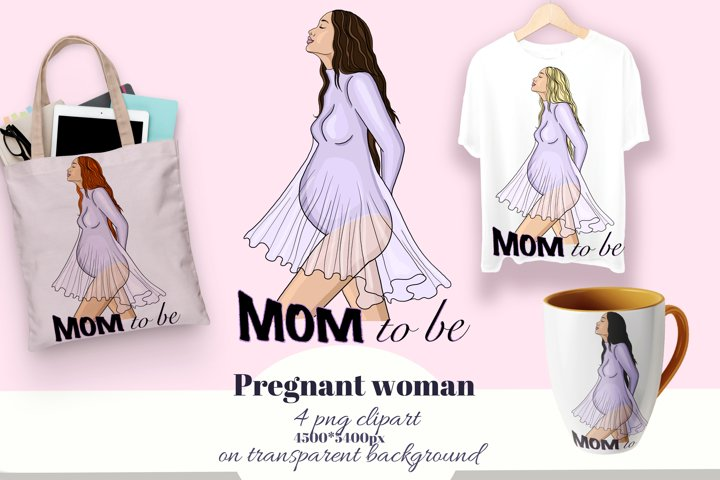 Mom to be T-shirt design. Pregnant woman. Maternity clipart.