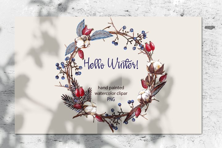 Watercolor Christmas wreath.Winter dry plants clip art. PNG