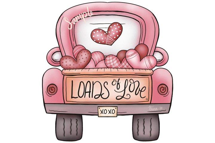 XL 12-inch - Valentines Day Loads of Love Truck Clip Art