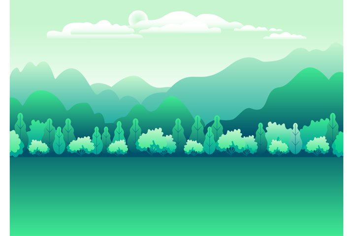 Hills and mountains landscape in flat style design green
