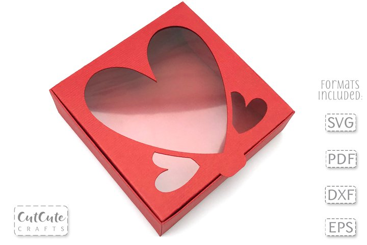 Cute Hearts Bow Box SVG for 3 and 4 inch bows