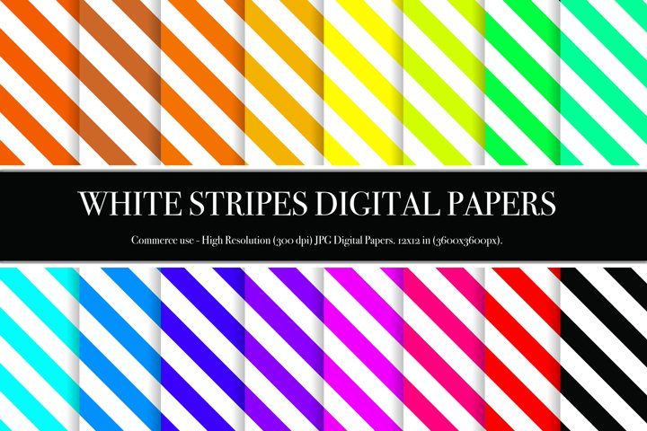 White Stripes Digital Papers - P1