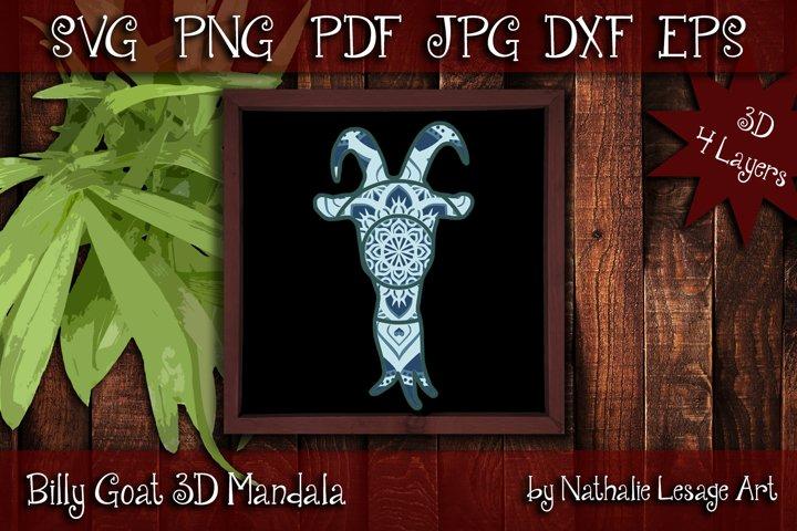 Billy Goat 3D SVG Mandala 4 Layers Cutting File Barnyard
