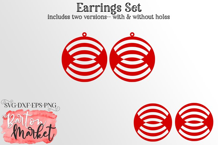 Earrings Set Circles With Reflected Inner Lines SVG DXF EPS