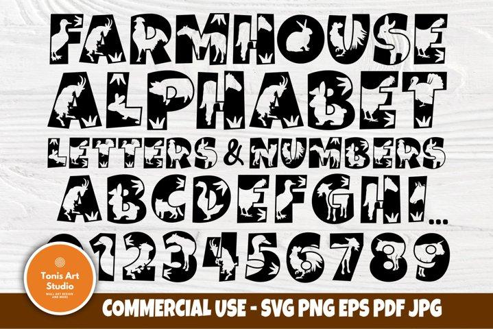 Animal Alphabet SVG, Farmhouse Font Svg, Farmhouse Letters
