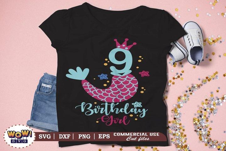 Ninth Birthday girl svg, Ninth birthday svg, 9th birthday