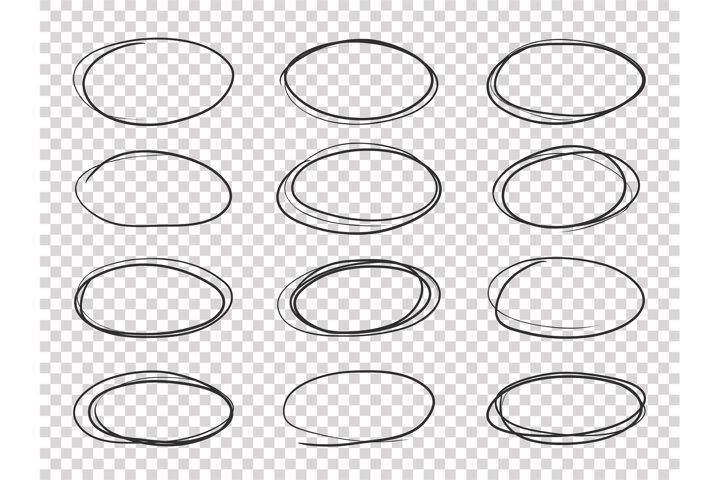 Doodle circles. Hand drawn ellipse, circular highlights old