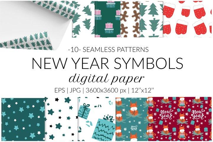 New Year digital paper pack. Christmas seamless pattern set