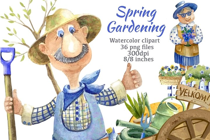 Garden clipart.Spring Gardening Clipart. Gardener.