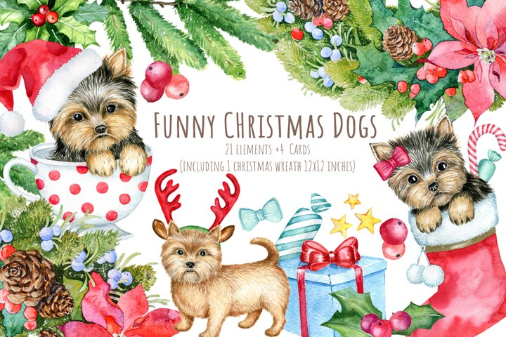 Cute Christmas dogs Clipart Set