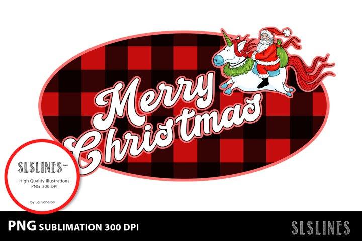 Merry Christmas Santa Red Buffalo Plaid PNG sublimation