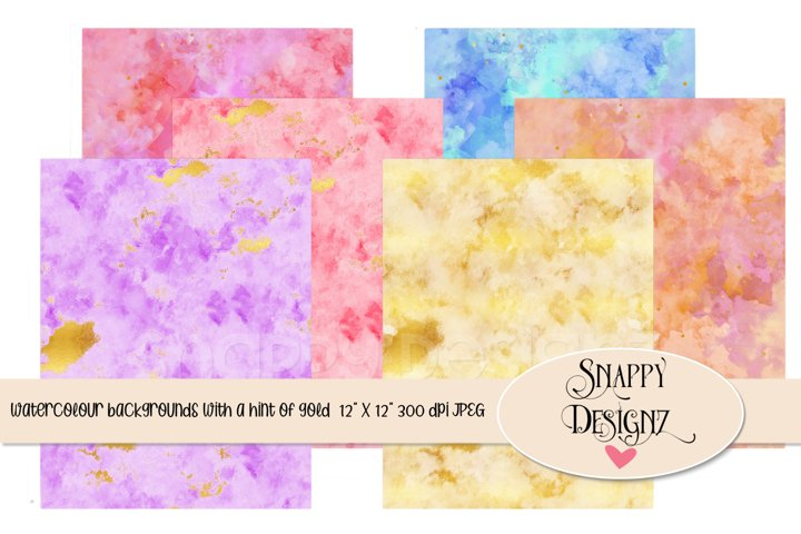Watercolour background papers with a touch of gold