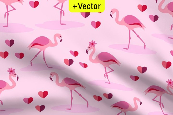 Flamingo pattern Valentines Day seamless Vector hearts