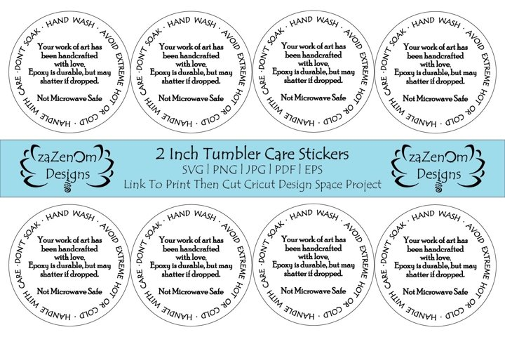 2 Inch Round Tumbler Care Card Stickers With Project Link