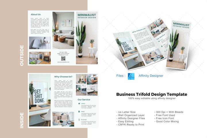 Minimal interior trifold brochure design template