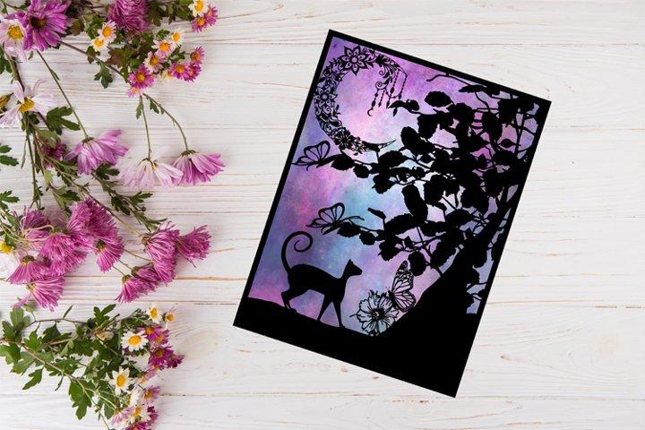 Cat Paper Cut Template SVG - PET SVG, PNG - Cat Silhouette