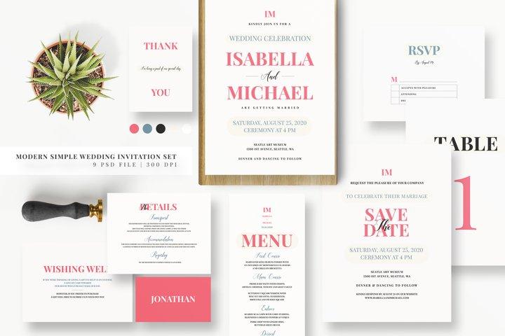 Modern Simple Wedding Invitation Set