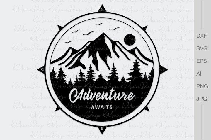 Adwenture awaits, Mountains and compass, Camping shirt