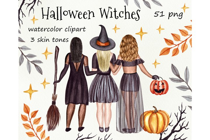 Halloween witches watercolor clipart. Autumn sublimation png