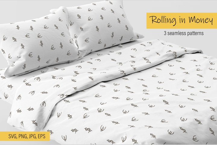 Rolling in Money 3 seamless patterns Print SVG PNG JPG EPS