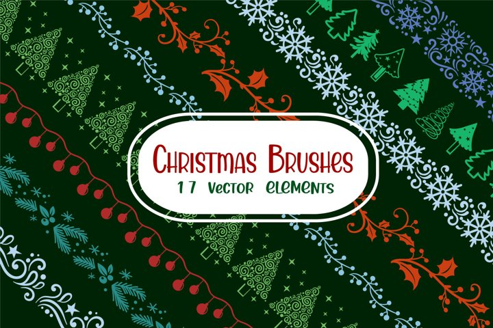 Christmas Brushes - 17 vector elements