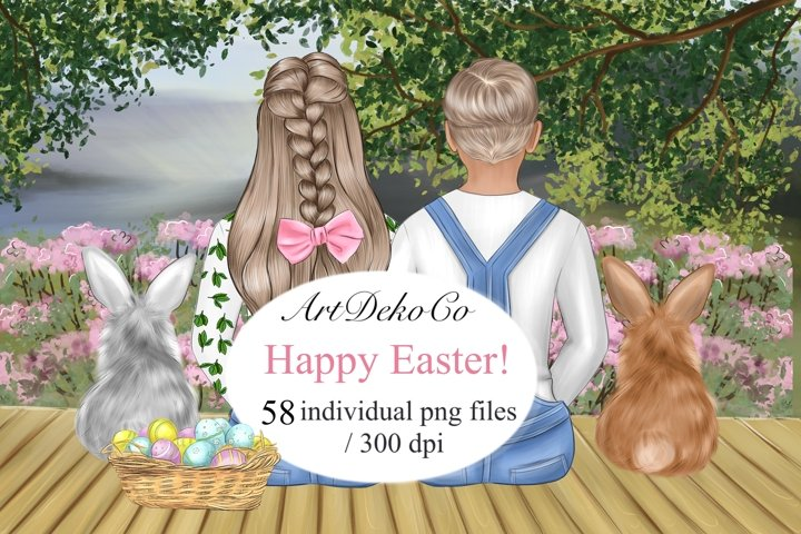 Easter Clipart, Customizable Easter Clipart, Easter Bunny