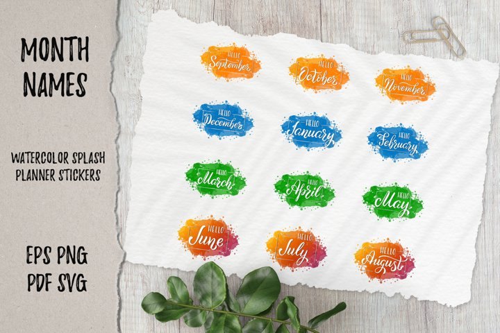 Watercolor 12 month planner stickers | EPS|PNG|PDF|SVG