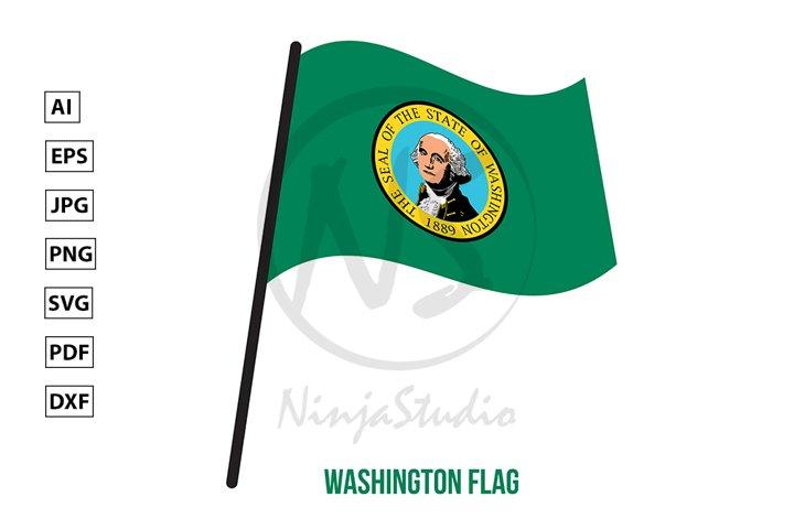 Washington U.S. State Flag Waving Vector