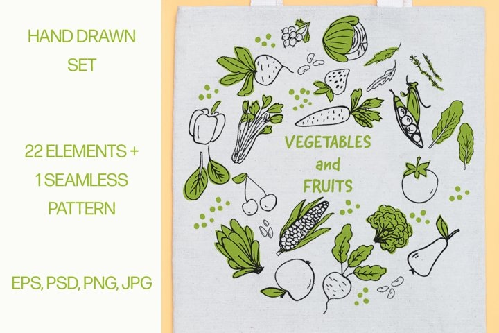 Fruits and vegetables. Hand drawn elements set