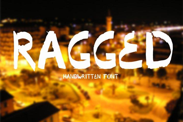 Ragged. Handwritten font.