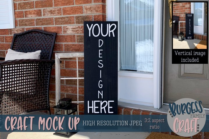 Black porch sign Craft mock up |High Res JPEG