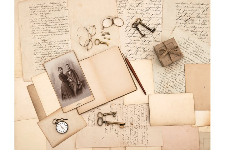 Old papers, vintage accessories, letters and photo JPG