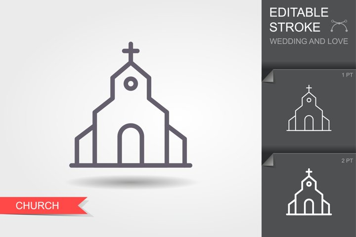 Church. Line icon with shadow and editable stroke