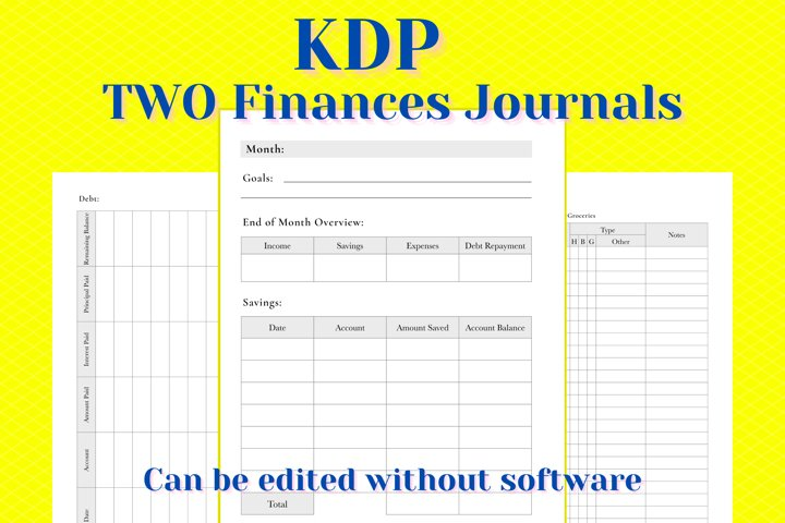 KDP TWO Finance Journals in PDF PPTX and Keynote