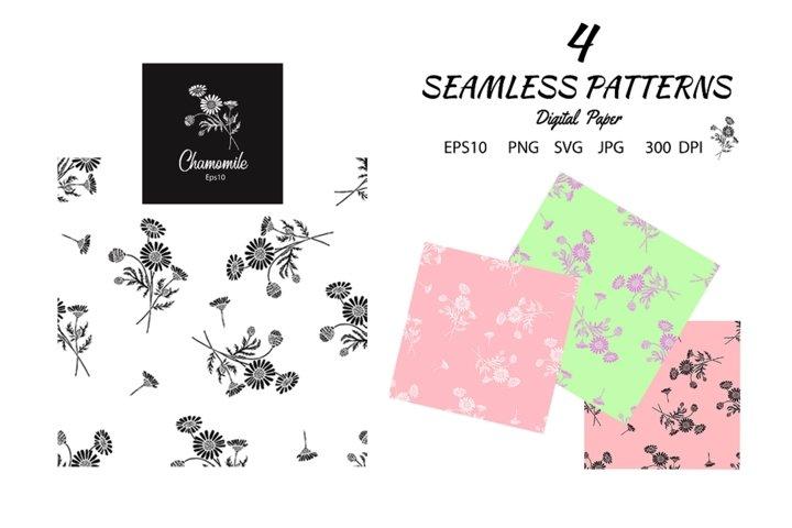 4 Seamless Daisy Flower Patterns. Digital Paper