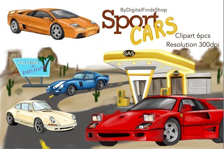Cars clipart, sport cars, racing cars, retro cars, old car