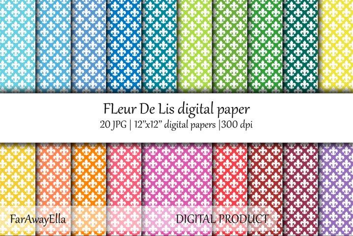 Fleur De Lis JPG digital paper   20 seamless backgrounds