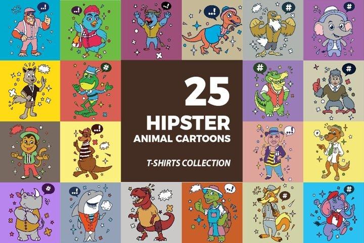 25 Hipster Animal Cartoon T Shirt