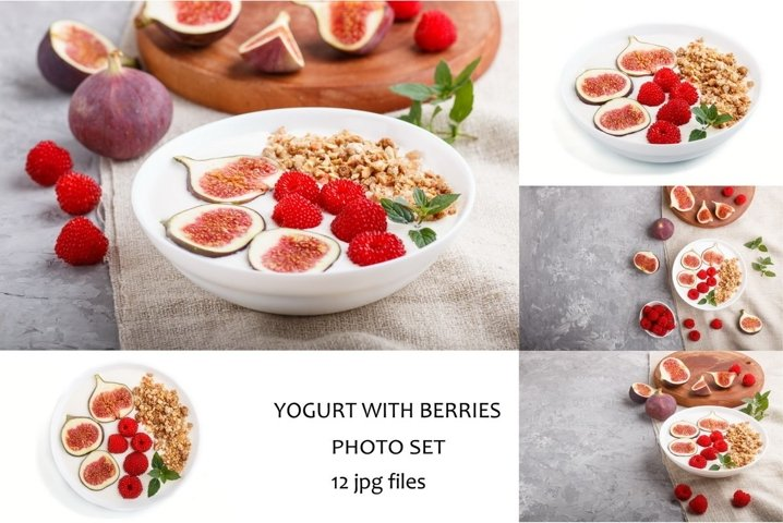 Yoghurt with raspberry, granola and figs
