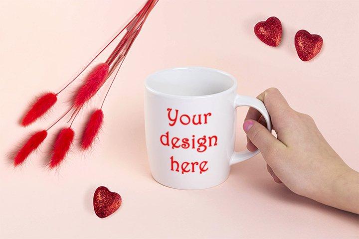Valentines Day mug mockup, PSD smart object