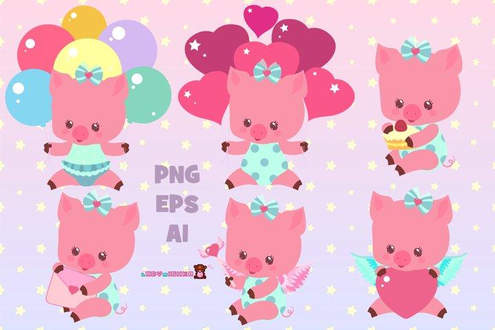 Cute little pig set