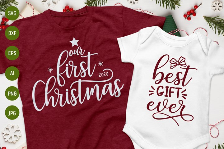 Our first christmas svg, matching family christmas shirt