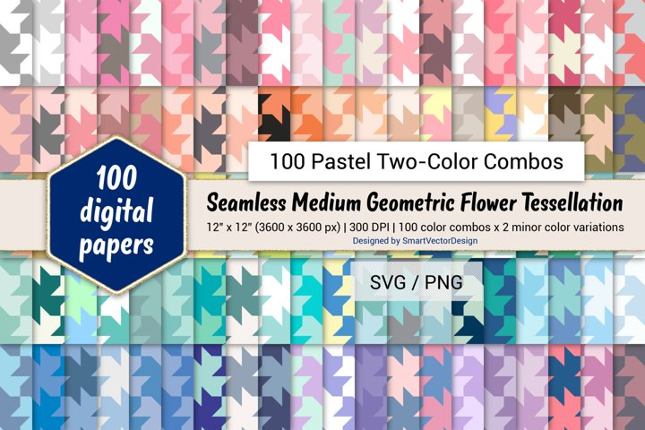 Geometric Flower Tessellation - 100 Pastel Two-Color Combos