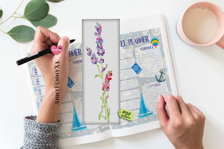 Bookmark cross stitch pattern PDF Lavender Xstitch