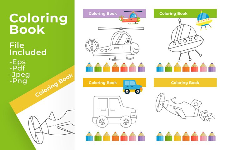 Coloring book for kid teaching material